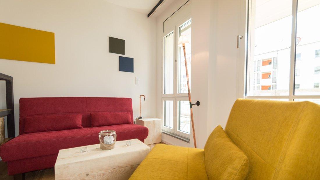 Wohnbereich eines Apartments im Lebendigen Haus in Dresden