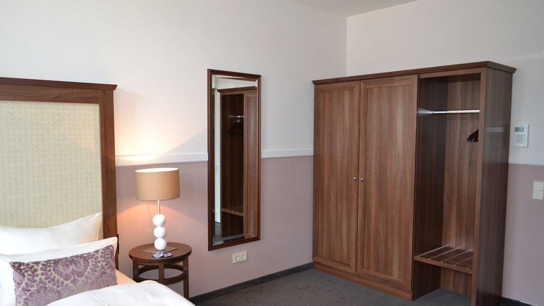 Detailaufnahme Doppelzimmer Aparthotel am Schloss Dresden.