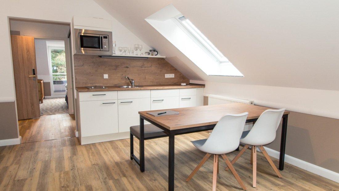 Wohn und Küchenbereich Aparthotel Victoria Bad Saarow