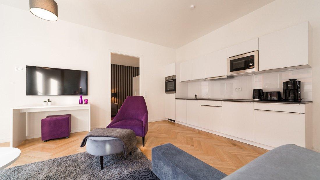 Wohnbereich Aparthotel Frieseneck Küchenansicht