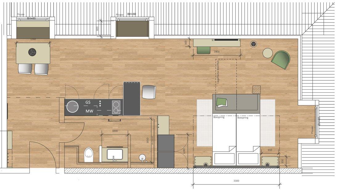 Grundriss Ansicht eines Doppelzimmers im Hotel Spreewelten.