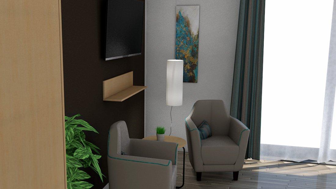 Hotelzimmer-Kliff-Resort-Visualisierung